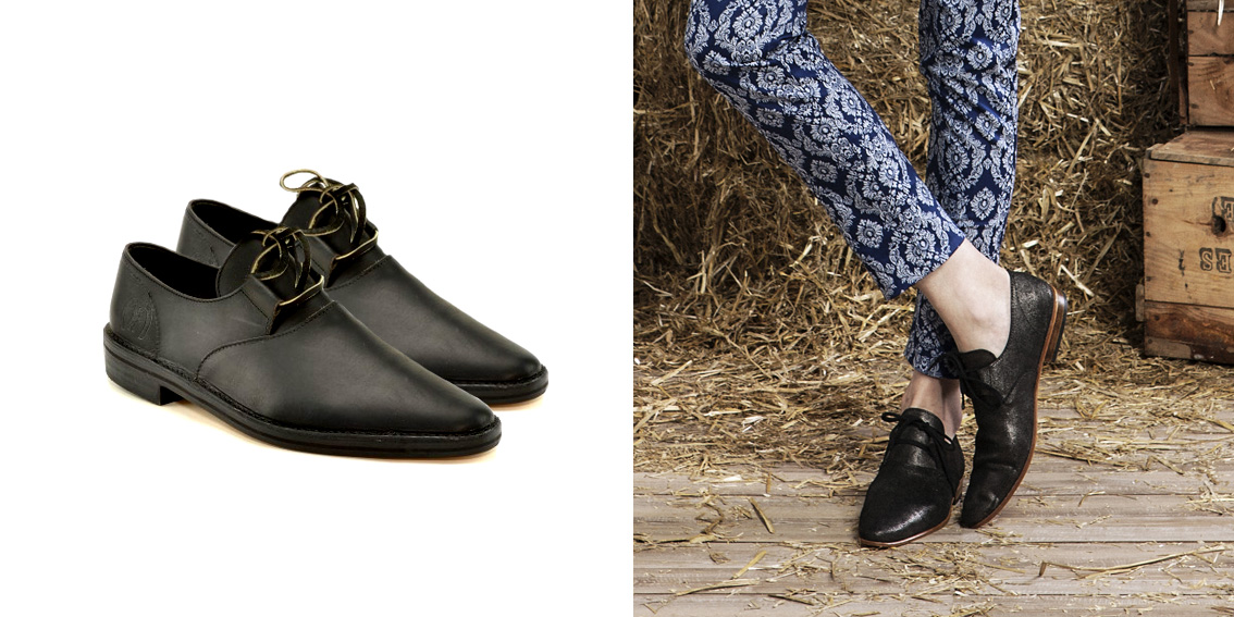 derby noires pailletées femme en cuir rock et chic made in france  - la botte guardiane