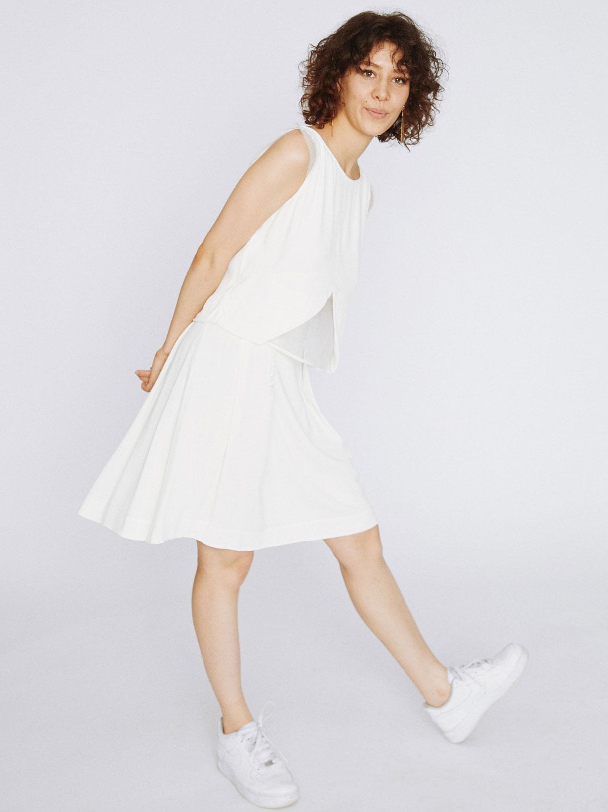 robe jupe de mariee patineuse courte écoresponsable - Creatrice de robe de mariée éthique et bio a Paris - Myphilosophypour mariage civil