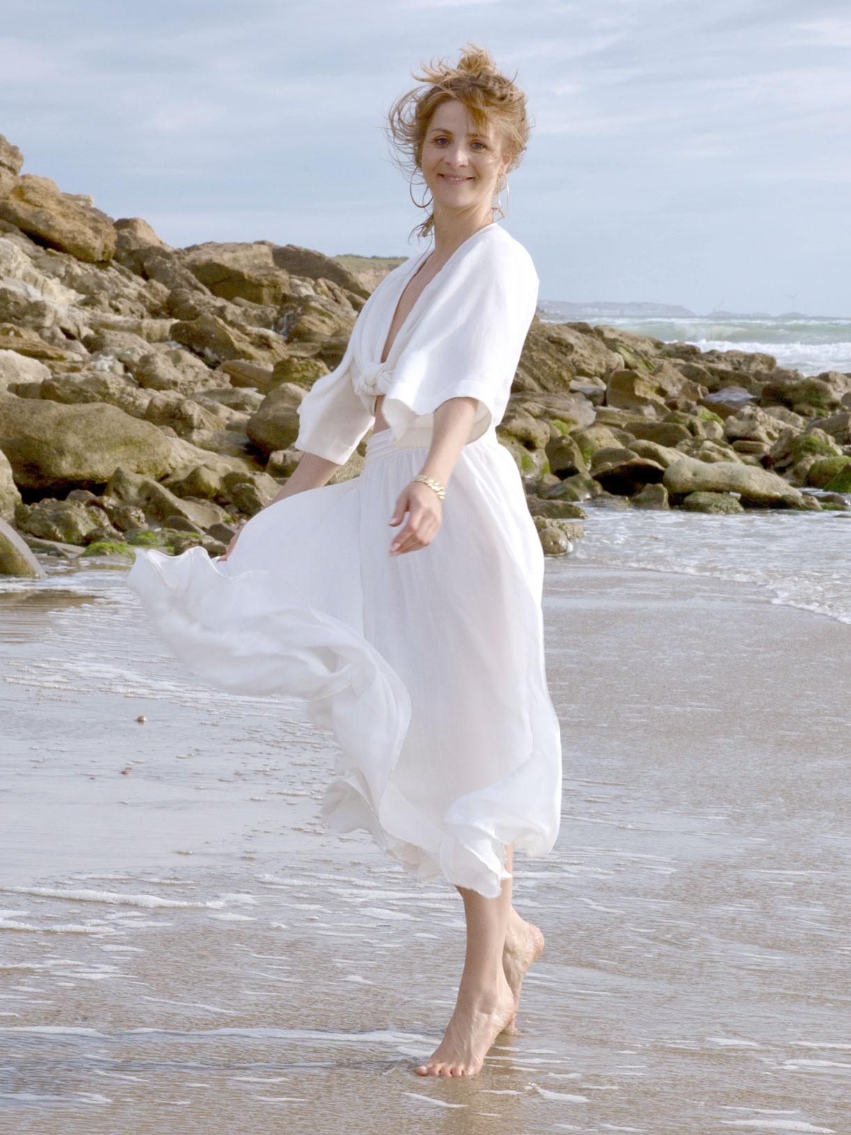 Jupe corolle midi blanche pour mariage civil écoresponsable et bio - Myphilosophy paris