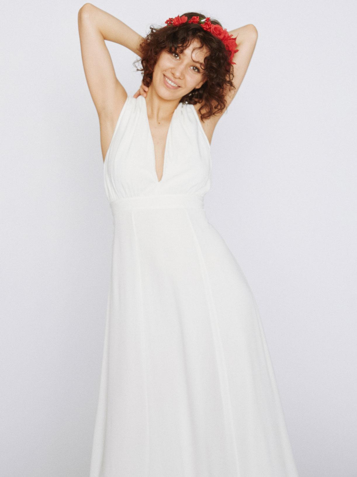 Robe de mariee longue taille empire vegan et écoresponsable - Creatrice de robe de mariée éthique et bio a Paris - Myphilosophy