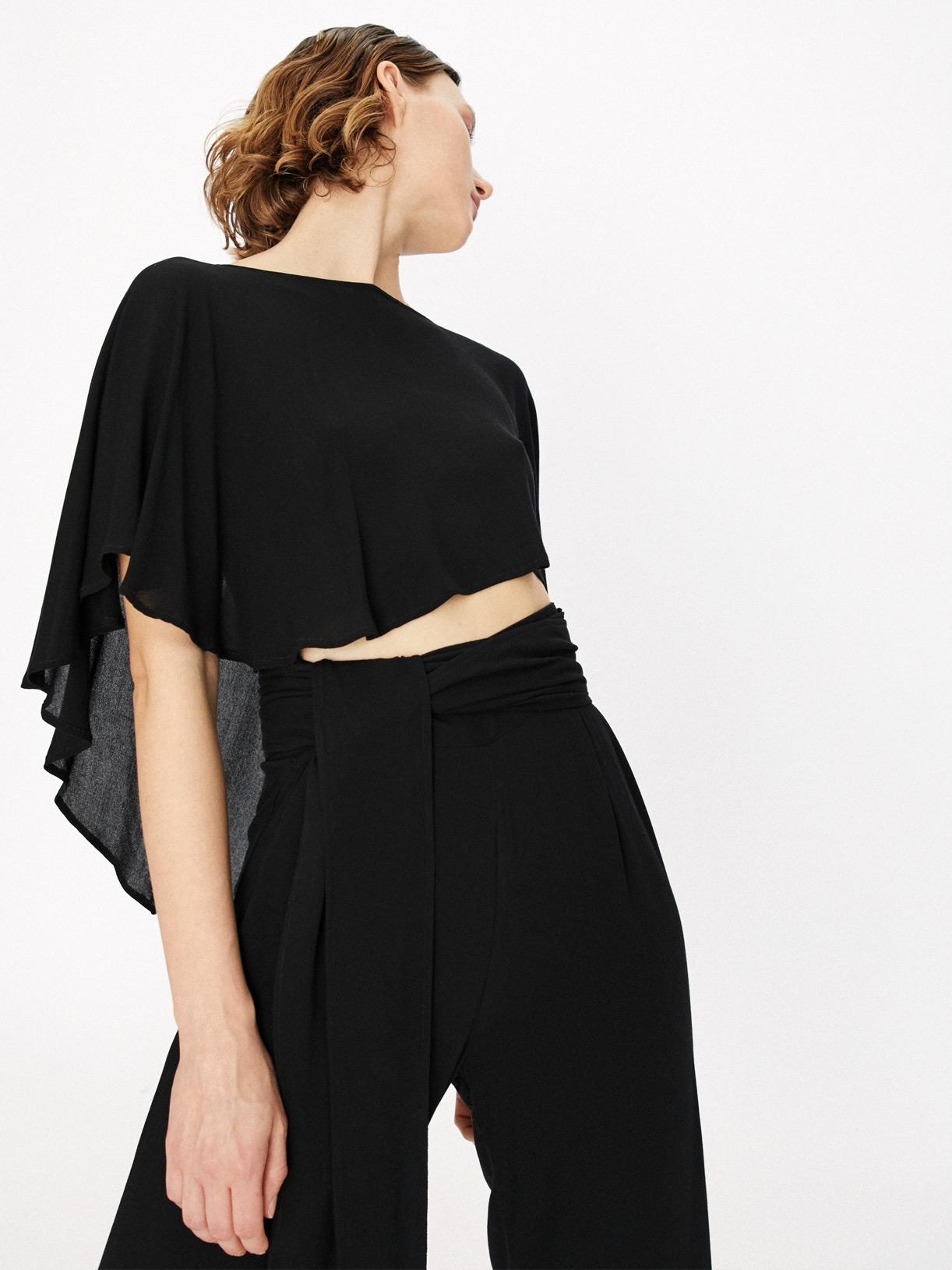 Andra - pantalon large fendu noir - mode ecoresponsable et ethique Myphilosophy