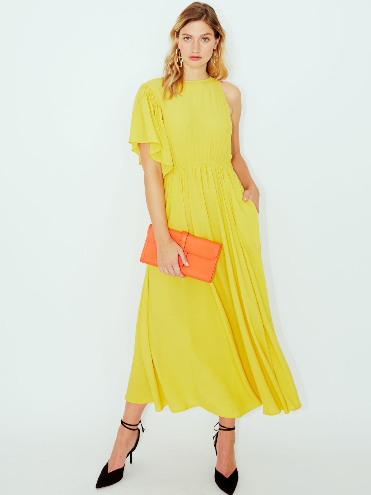 Robe longue jaune asymetrique pour invitee mariage ou soiree cocktail vegan et ecoresponsable - Myphilosophy
