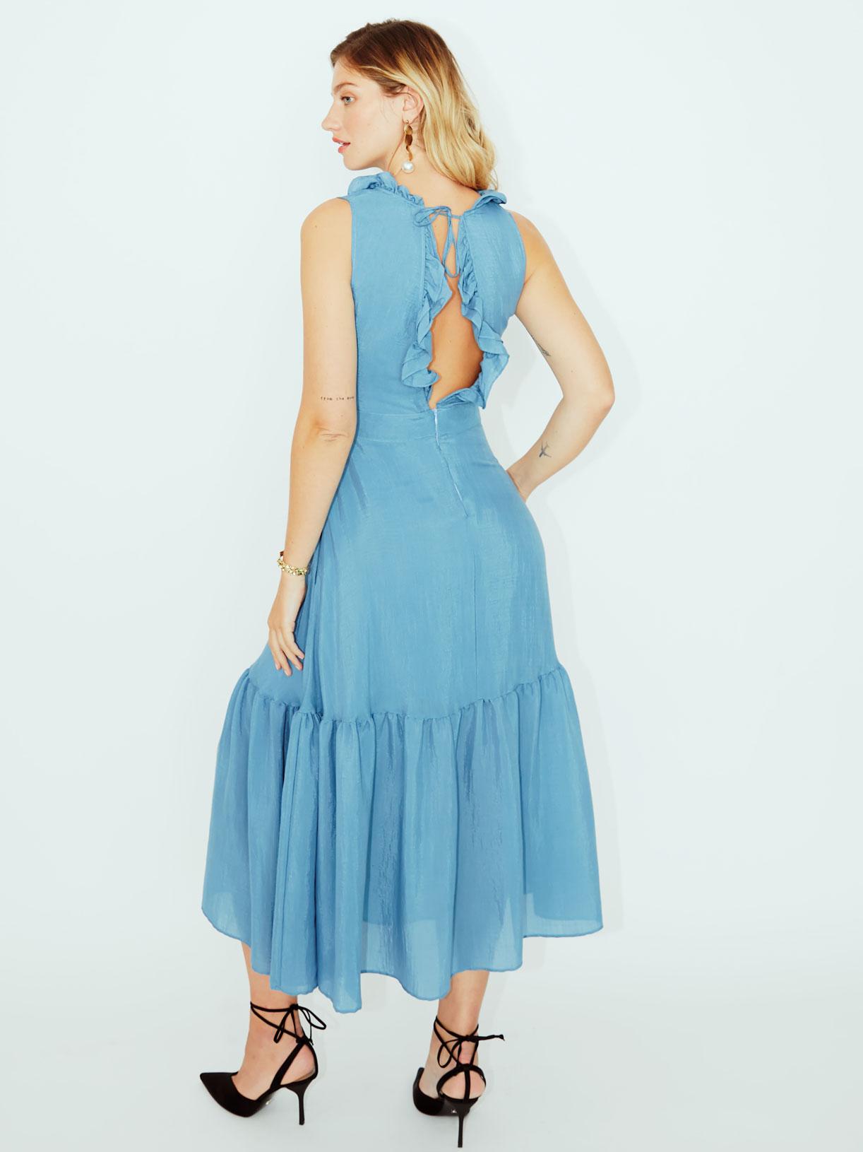 Robe longue bleue dos nu vegan pour invitee mariage ou soiree ecoresponsable - Myphilosophy