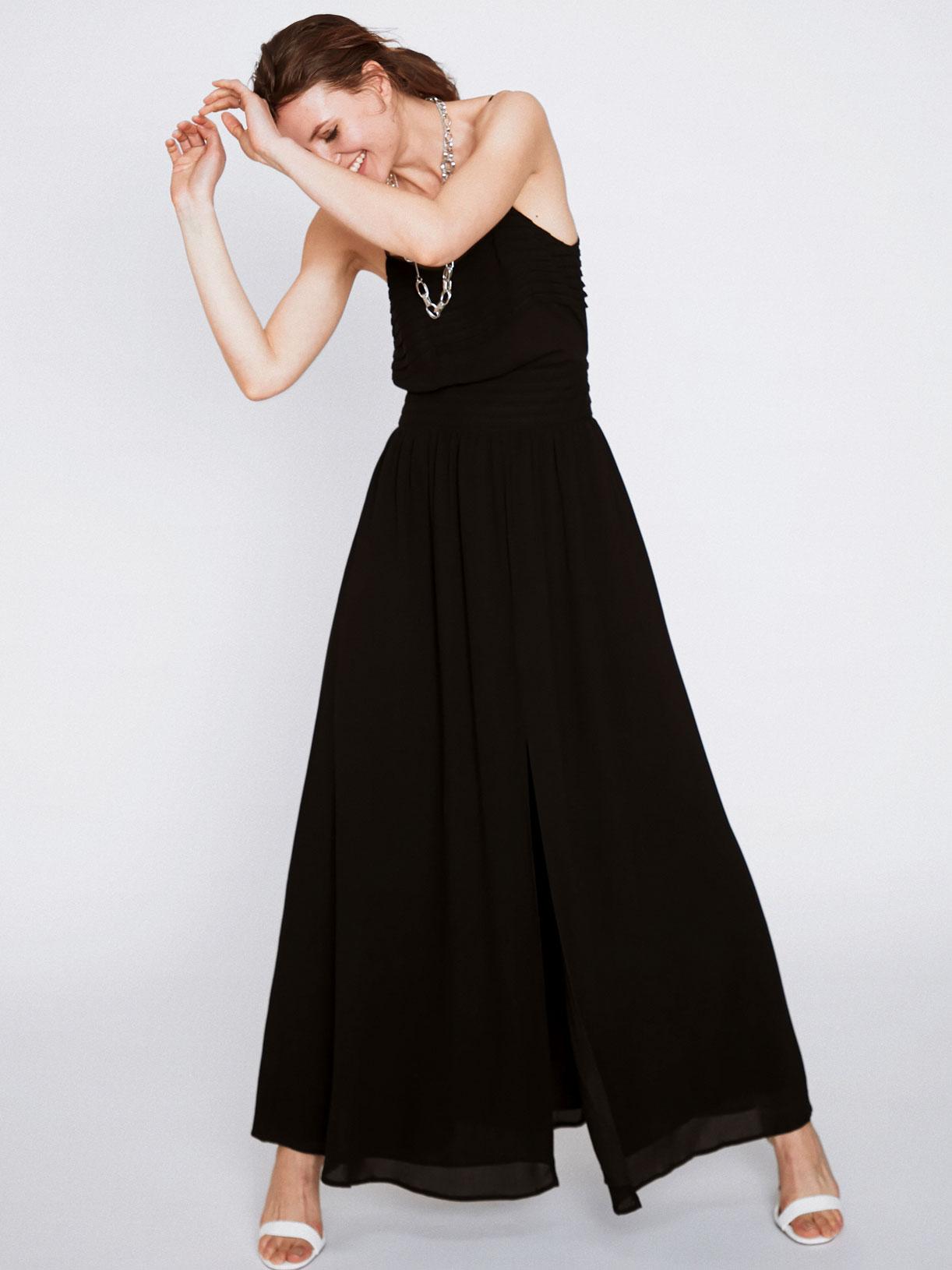 Jupe corolle longue fendue noire de soirée écoresponsable - Creatrice de mode éthique et bio a Paris - Myphilosophy