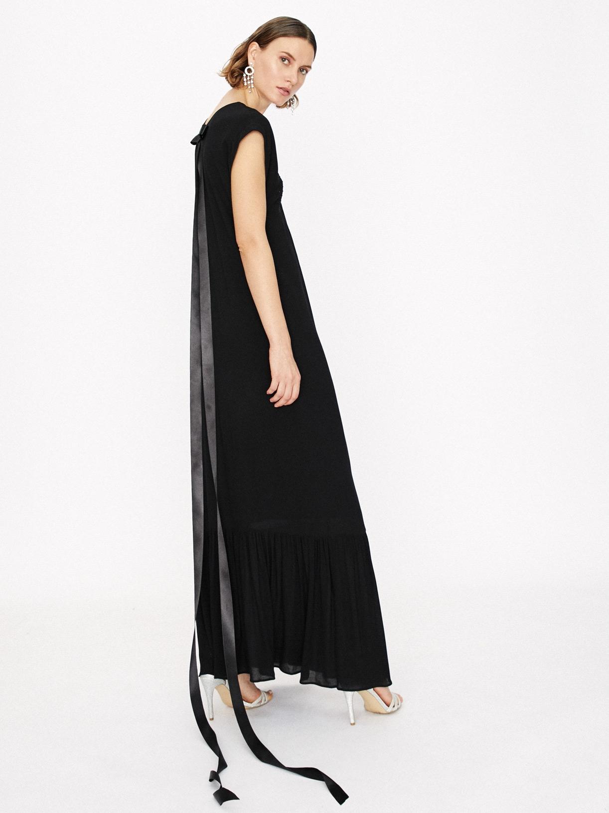 Robe de soiree noire longue a volants écoresponsable - Creatrice de mode éthique et bio a Paris - Myphilosophy