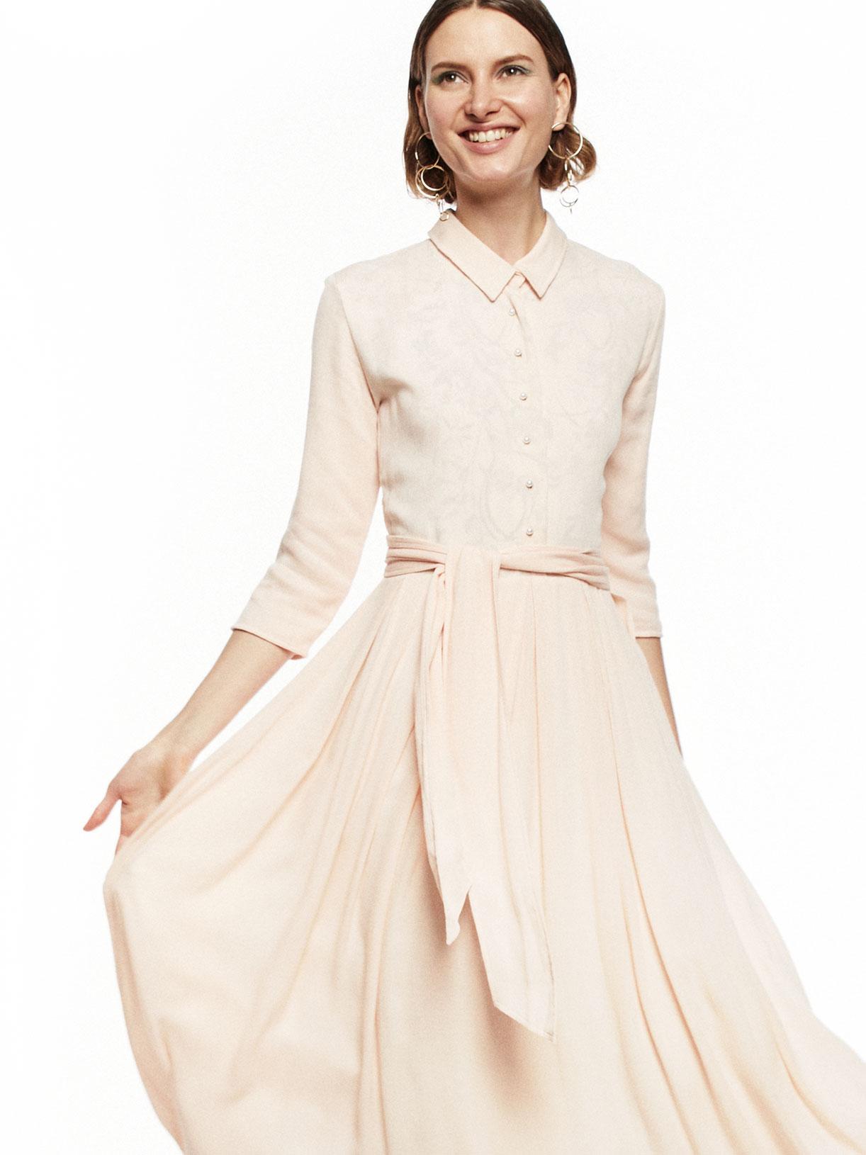Robe plissée d'invitée mariage rose poudre écoresponsable - Creatrice de mode éthique et bio a Paris - Myphilosophy
