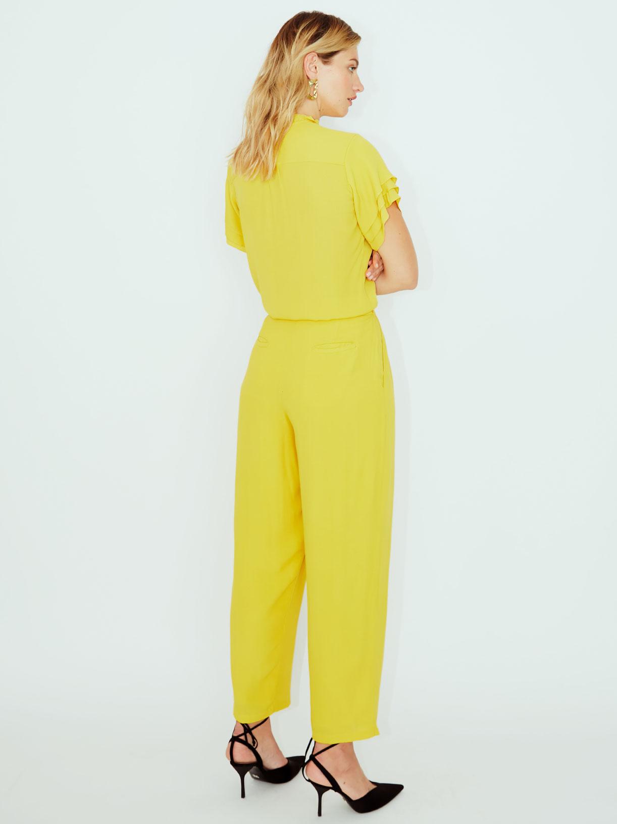 Pantalon carotte large vegan jaune ecoresponsable - Myphilosophy
