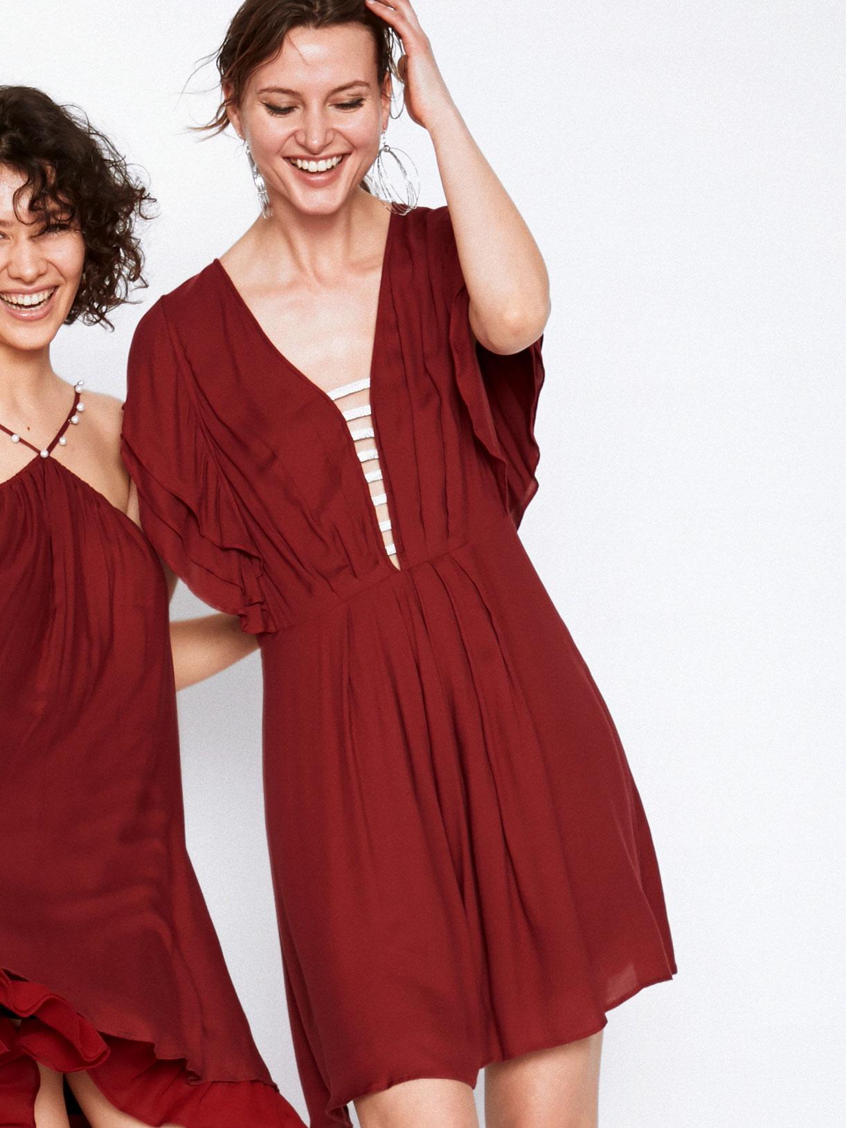 Robe d'invitee mariage rouge a volants  écoresponsable - Creatrice de mode éthique et bio a Paris - Myphilosophy