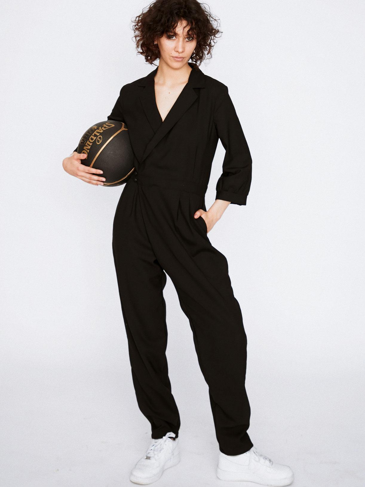 Combinaison pantalon smocking noire de soirée écoresponsable - Creatrice de mode éthique et bio a Paris - Myphilosophy