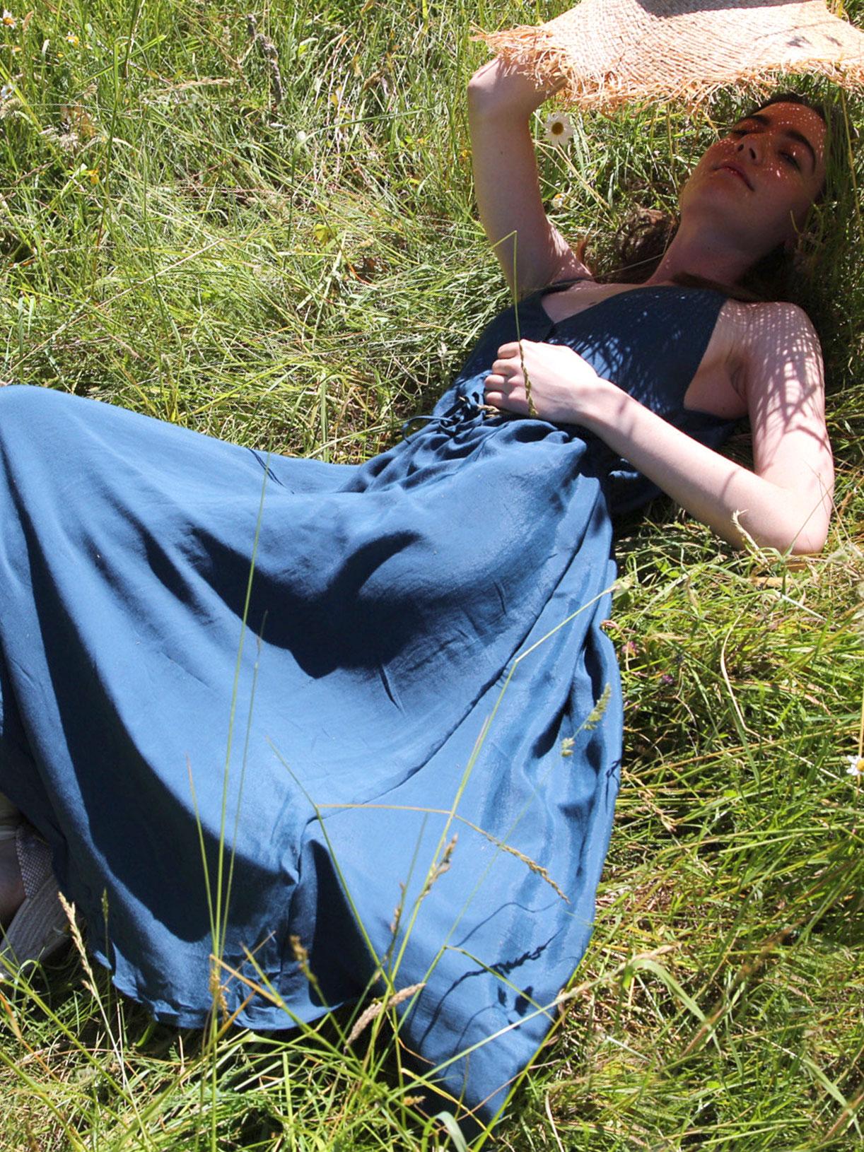 Robe longue ecoresponsable bleu vert - Myphilosophy