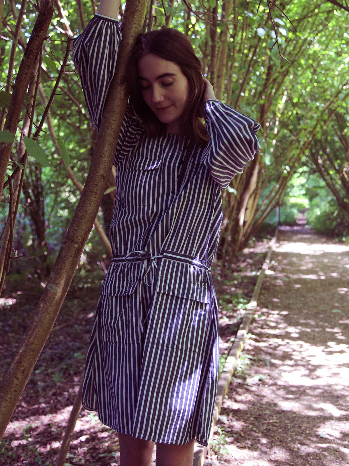 Robe chemise en coton recyclé Alphonse - Rayé bleu