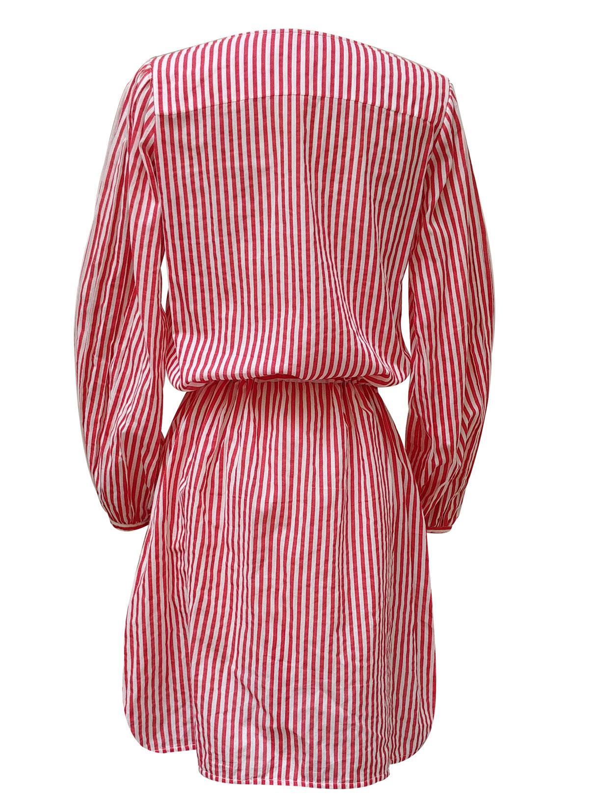 Robe chemise courte en coton bio rayé rouge - Myphilosophy