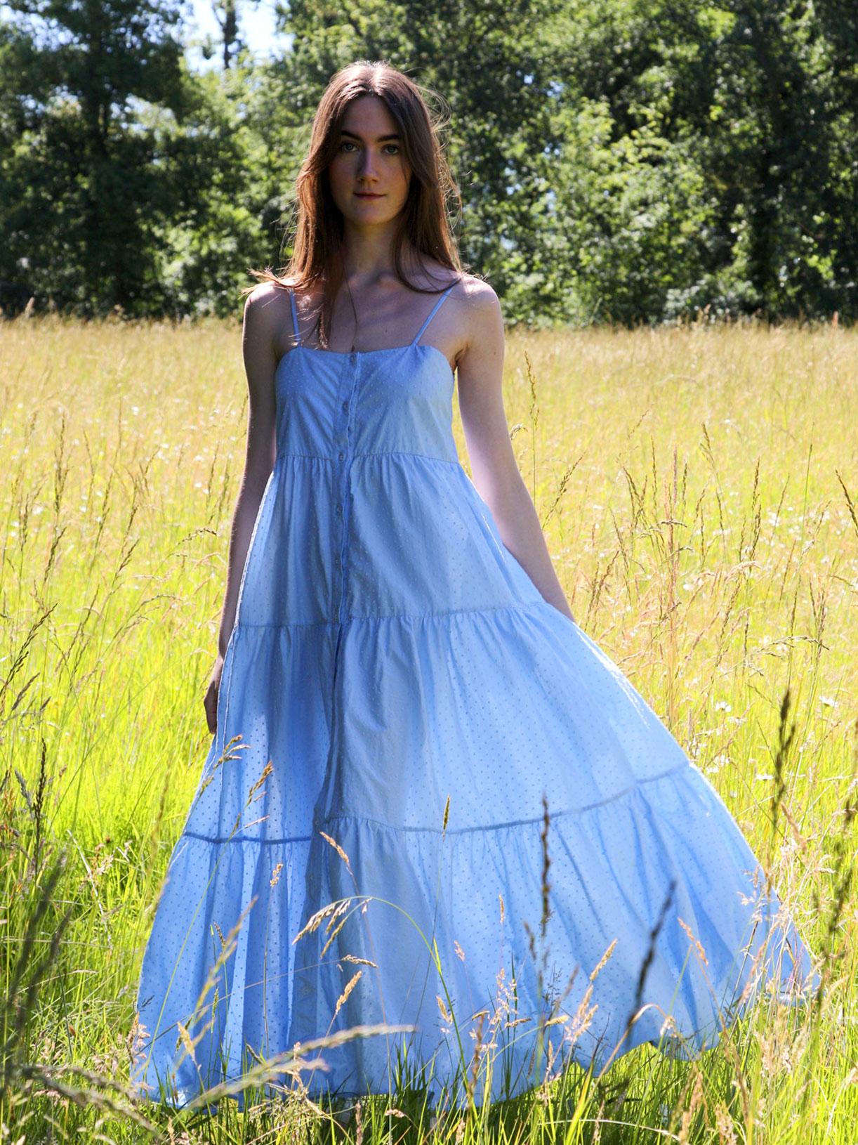 Robe bio longue en plumetis bleu - Myphilosophy