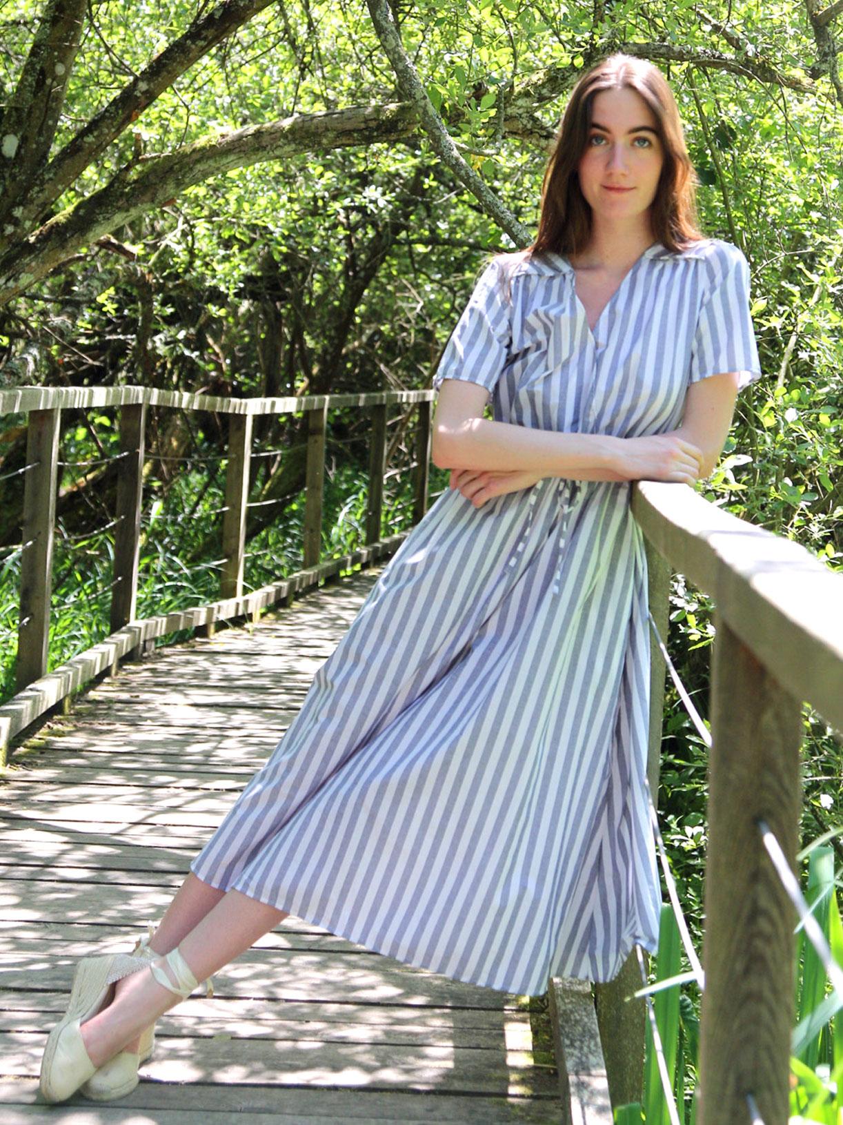 Robe longue en coton ecoresponsable rayé bleu - Myphilosophy
