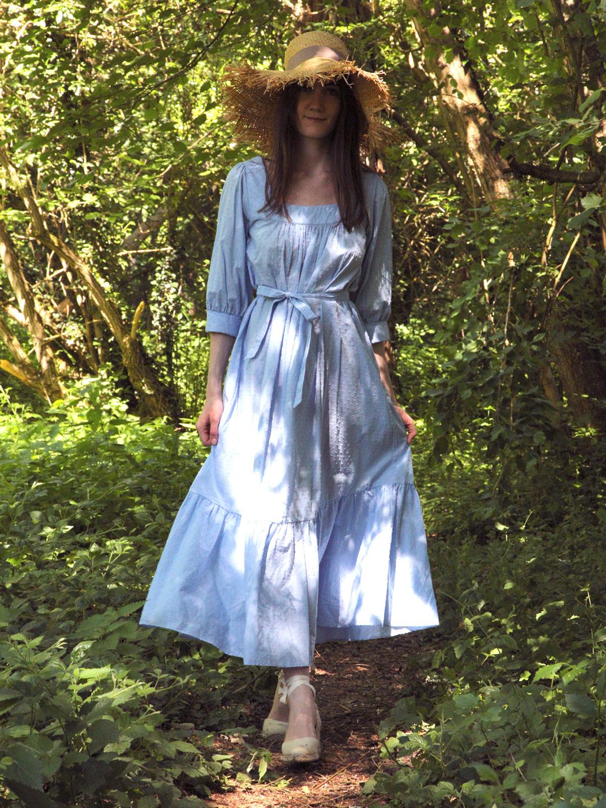 Robe en coton upcyclé Marius - Plumetis bleu