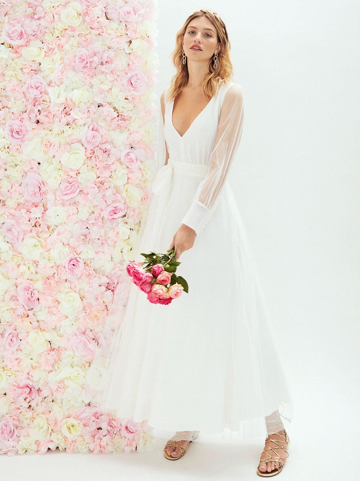 Robe de mariee princesse à manches longues et dos nu transparent sur mesure  - Creatrice de robe de mariée éthique et écoresponsable a Paris - Myphilosophy