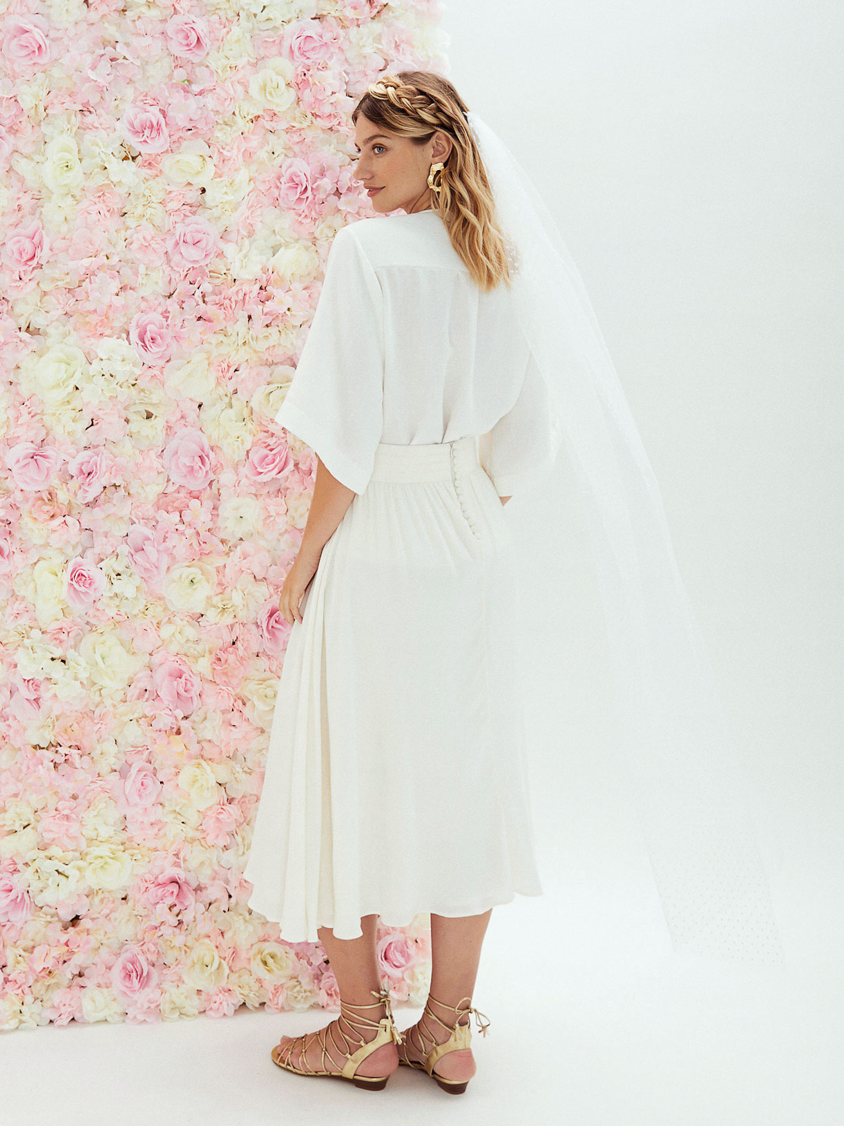Jupe de mariee midi corolle ecoresponsable sur mesure pour mariage civil - Creatrice de robe de mariée éthique et écoresponsable a Paris - Myphilosop
