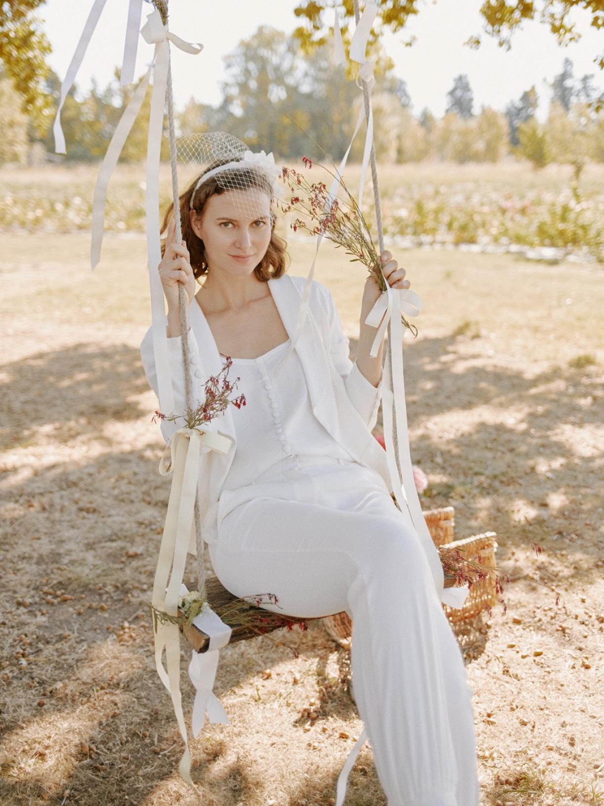 Pantalon tailleur de mariée écoresponsable - Creatrice de robe de mariée éthique eet bio a Paris - Myphilosophy