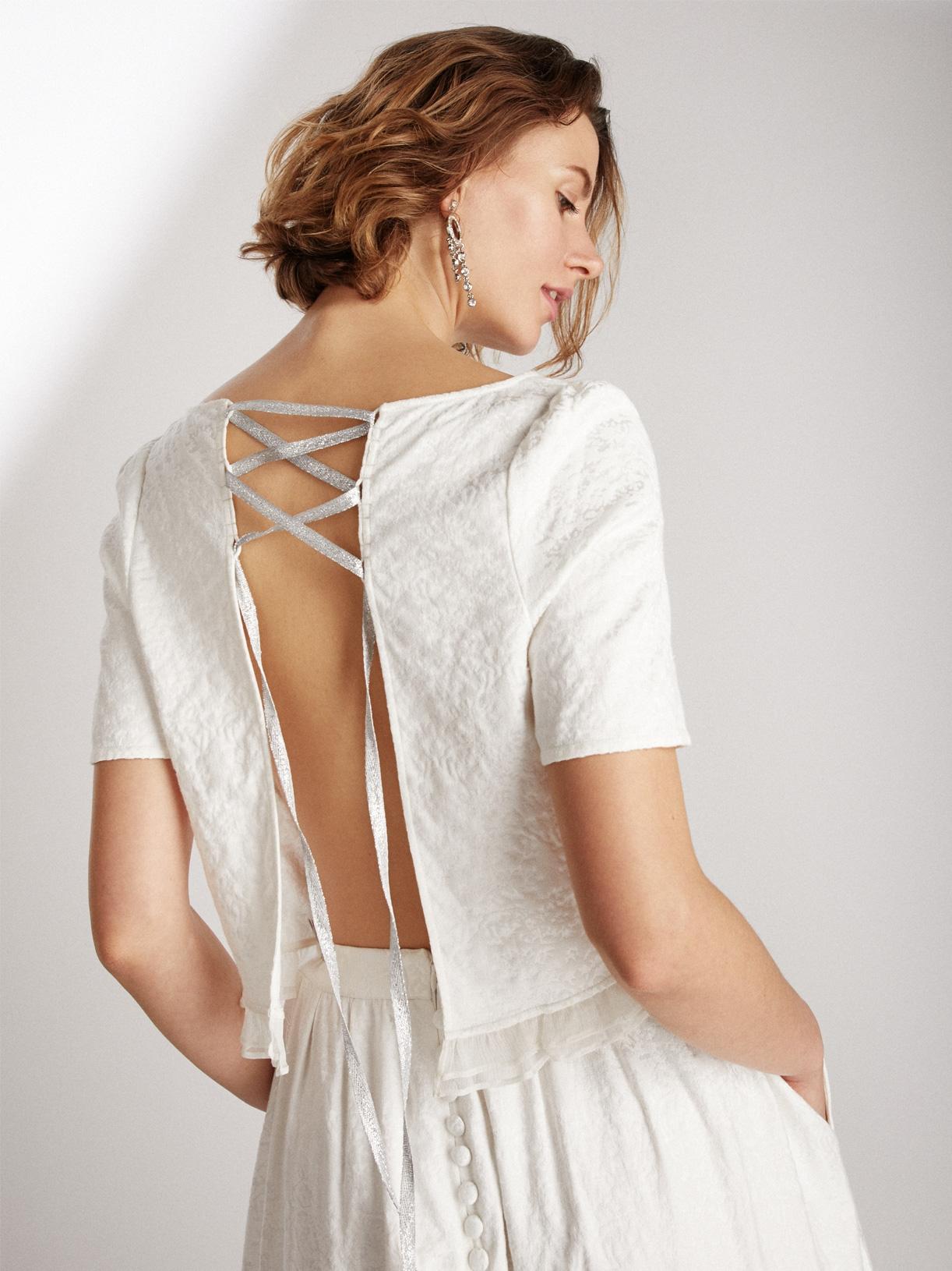 crop top dos-nu de mariée écoresponsable - Creatrice de robe de mariée éthique et bio a Paris - Myphilosophy