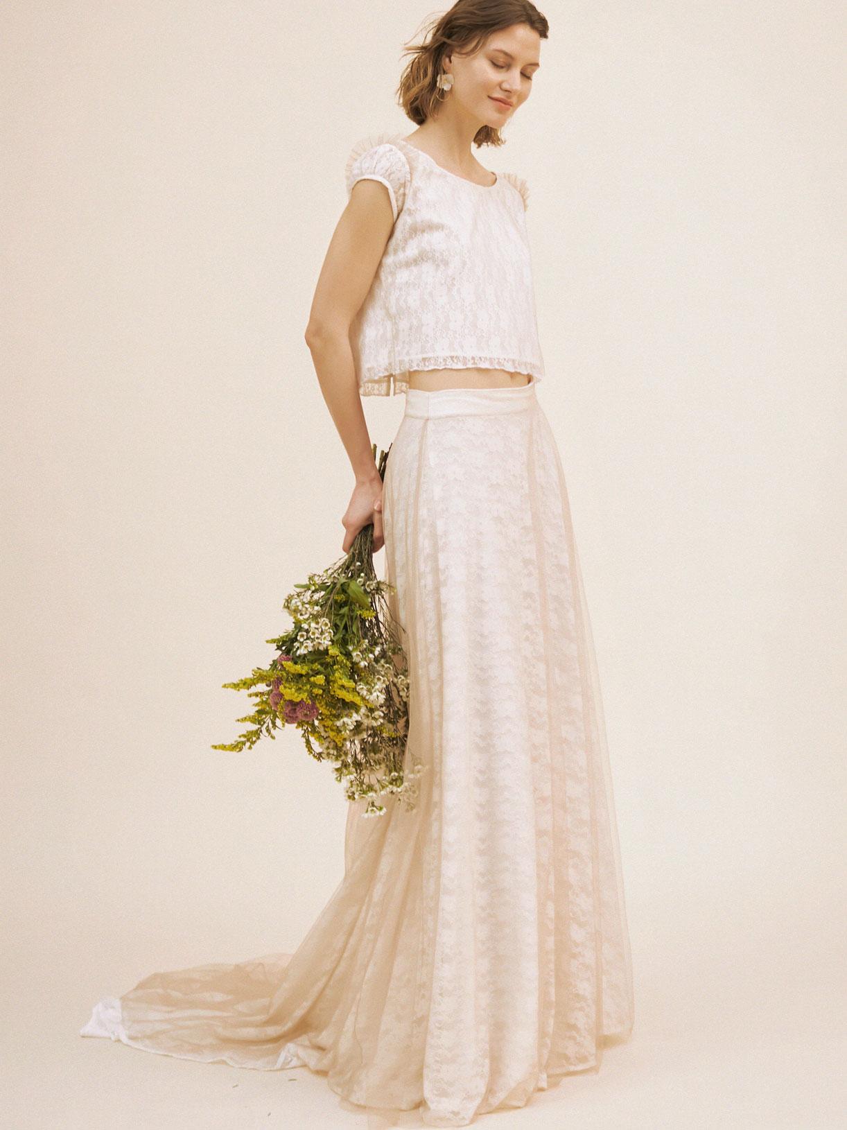Crop top et jupe de mariée bohème écoresponsable - Creatrice de robe de mariée éthique et bio a Paris - Myphilosophy