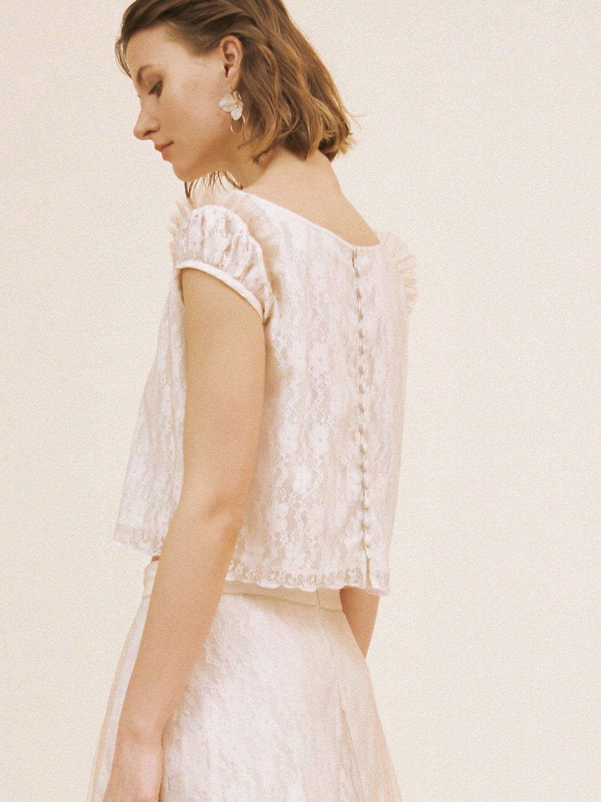 Crop top de mariée en dentelle écoresponsable - Creatrice de robe de mariée éthique et bio a Paris - Myphilosophy