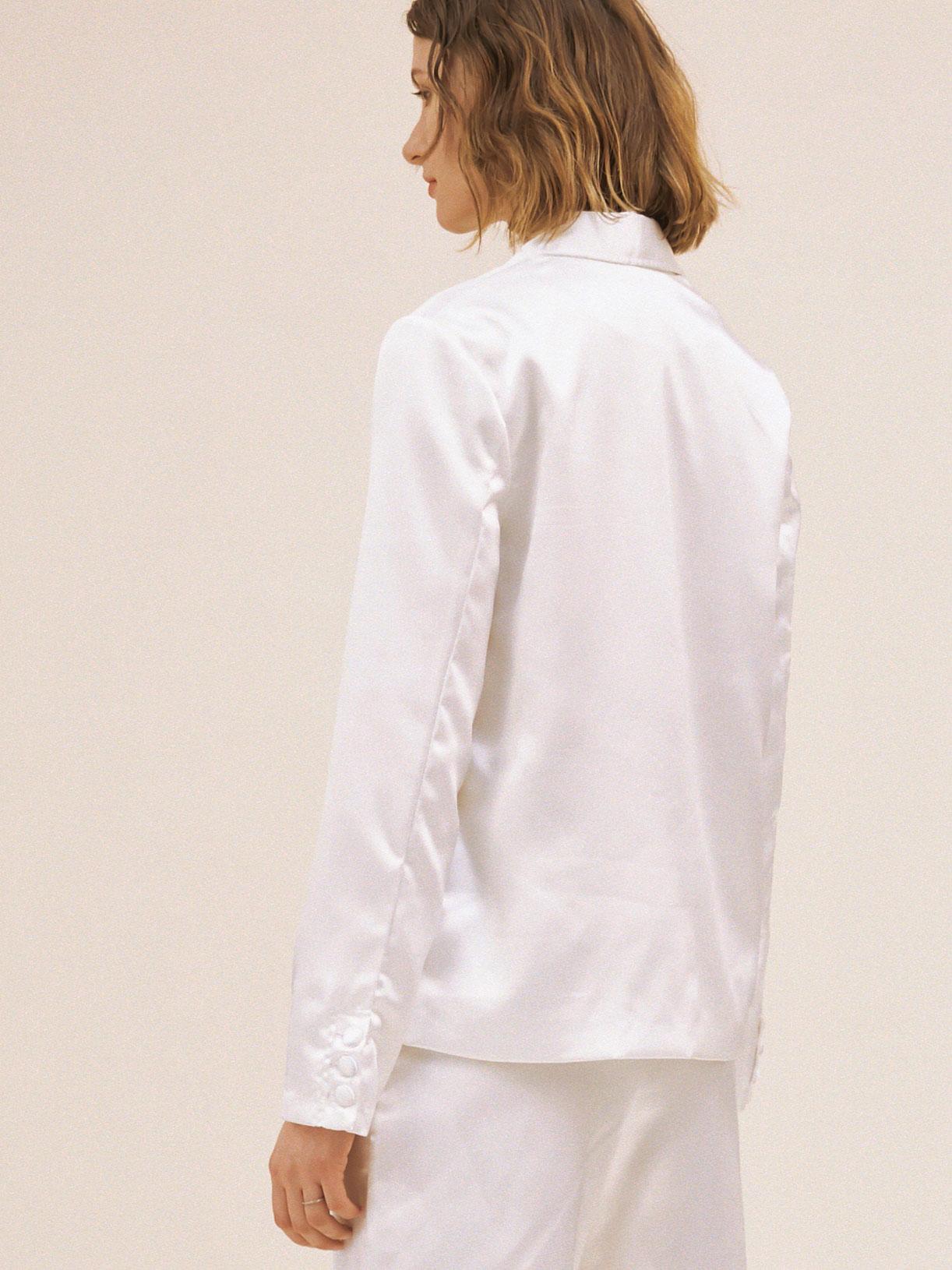 Veste de tailleur de mariée blanc écoresponsable - Creatrice de robe de mariée éthique et bio a Paris - Myphilosophy