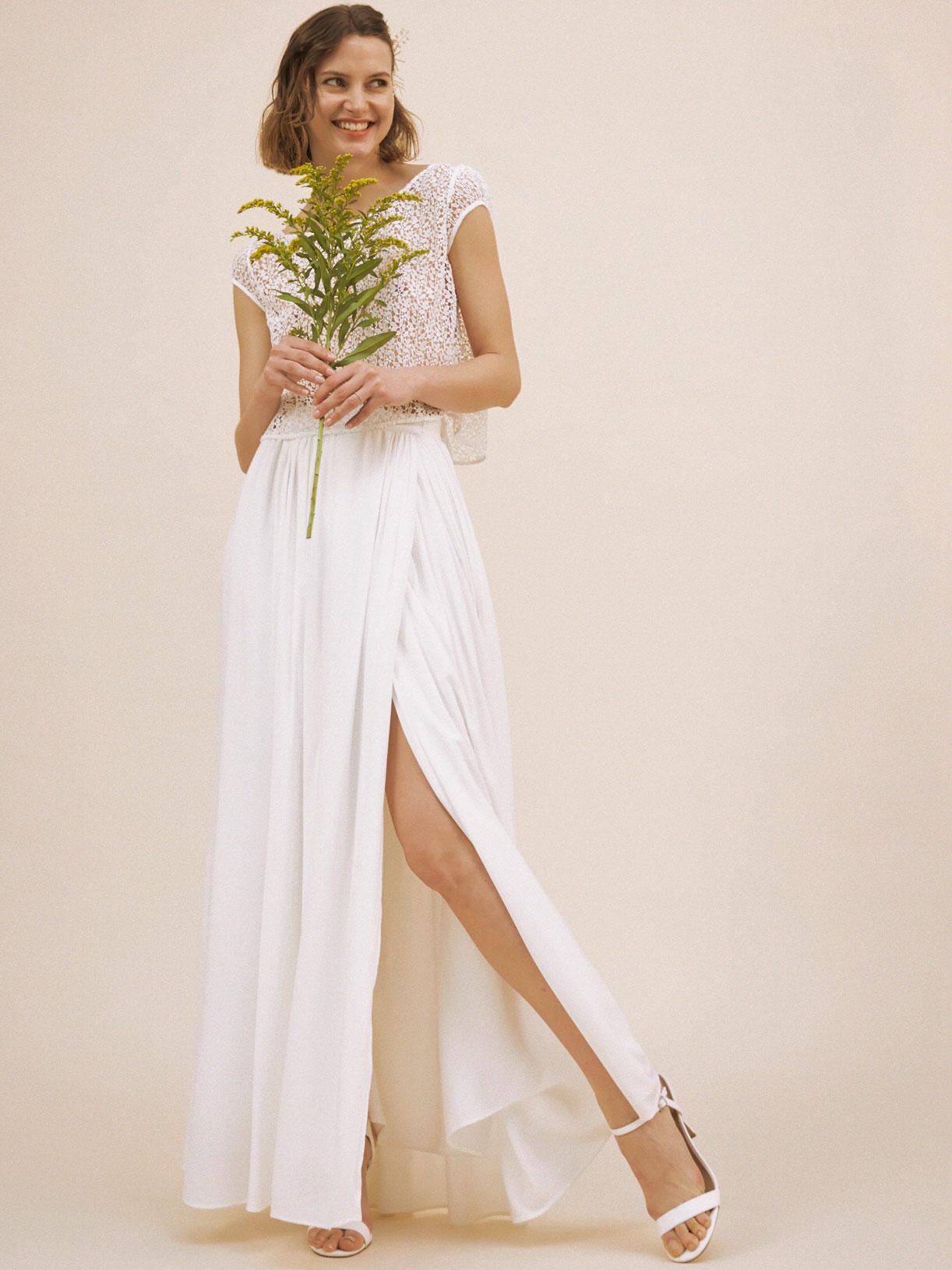 Jupe de mariée longue fendue écoresponsable - Creatrice de robe de mariée éthique et bio a Paris - Myphilosophy