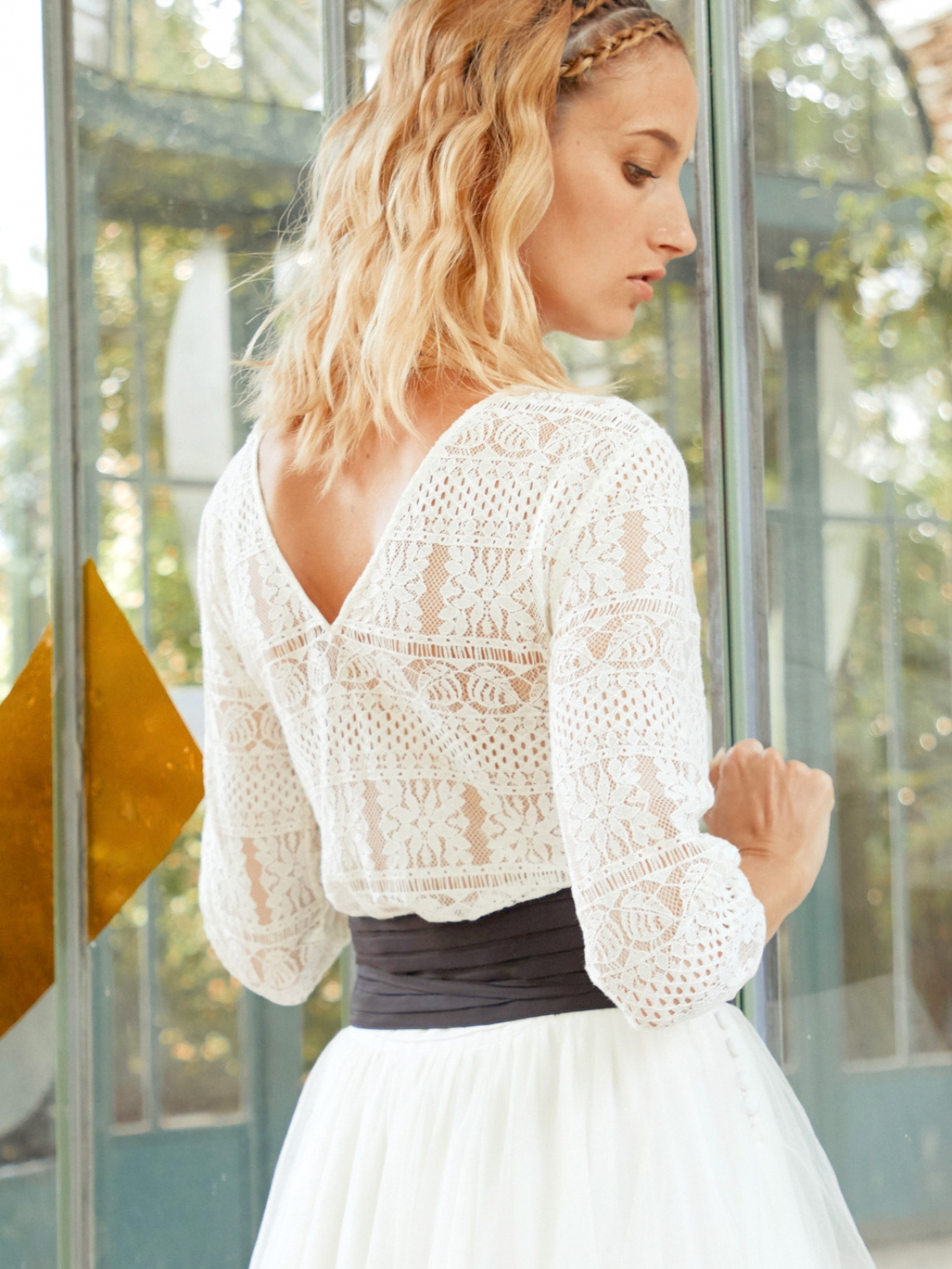Laurette top blouse de mariée en dentelle à manches mi-longues - Robe de mariée créateur et sur-mesure pas cher a Paris - Myphilosophy