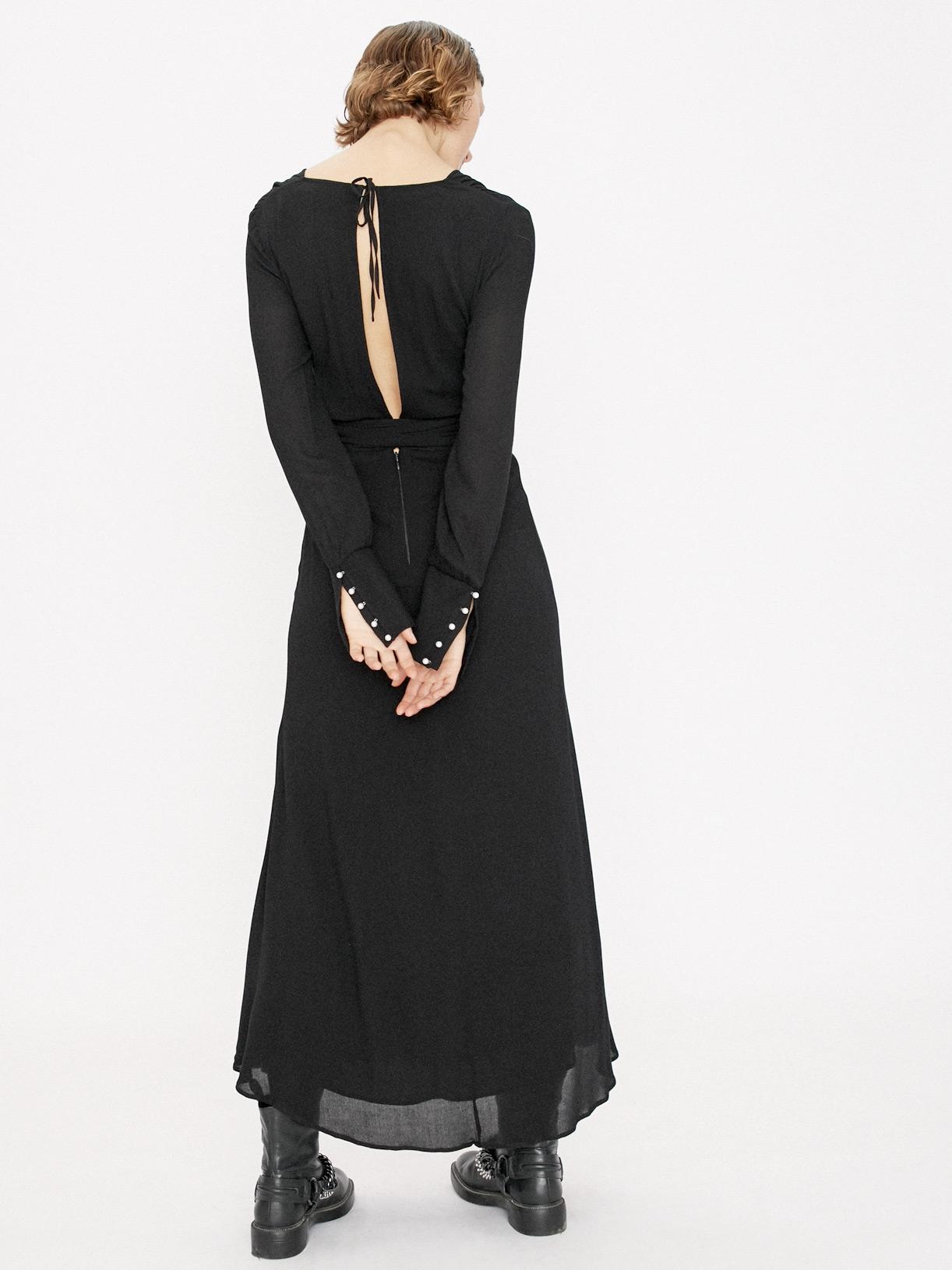 Robe de soirée ample a manches longues noire et sur-mesure Moonlight - Myphilosophy
