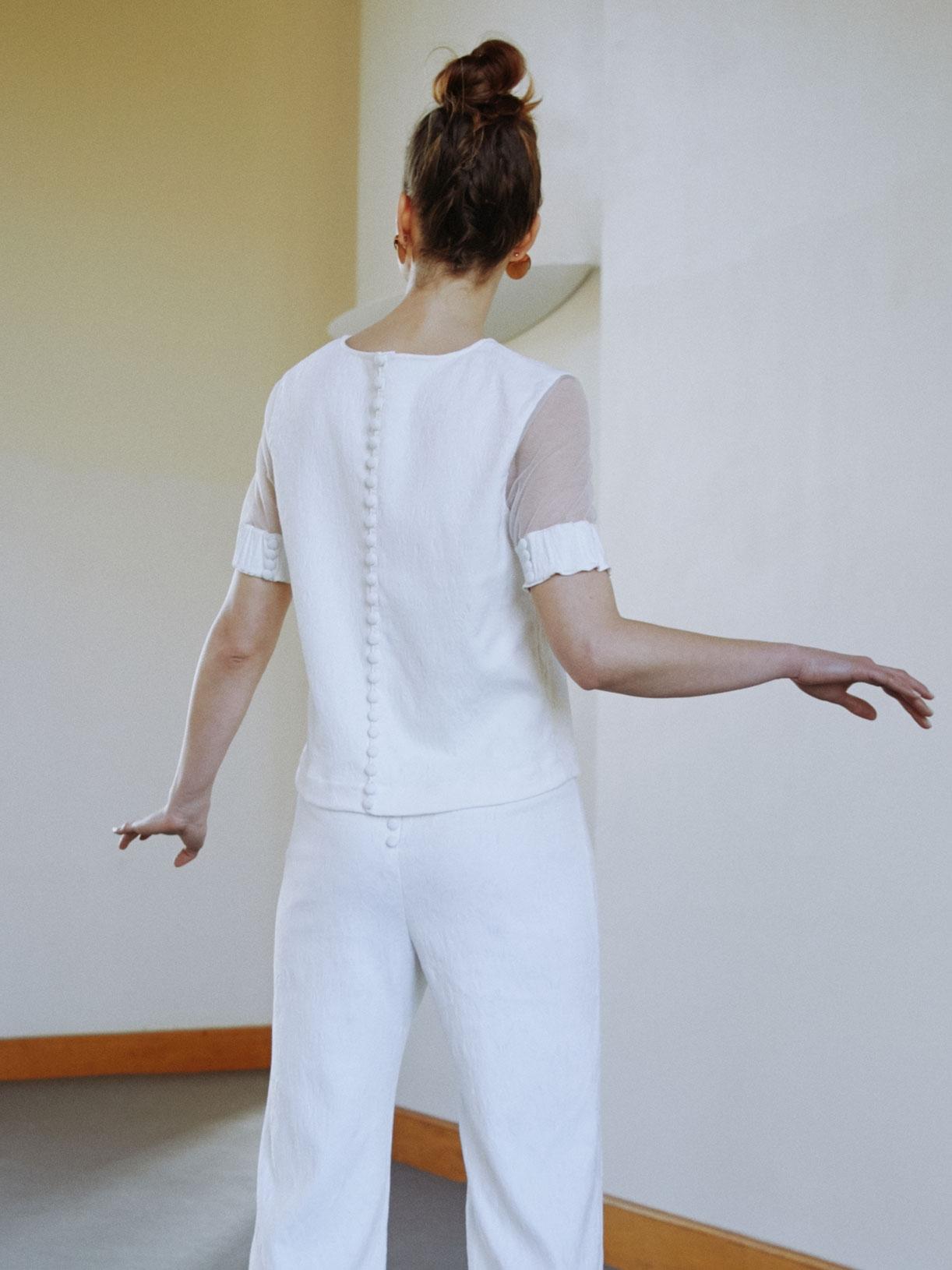 Fanny - Blouse de mariée retro a manches transparentes - Créatrice de robes de mariée sur-mesure éthique et bio sur Paris - Myphilosophy