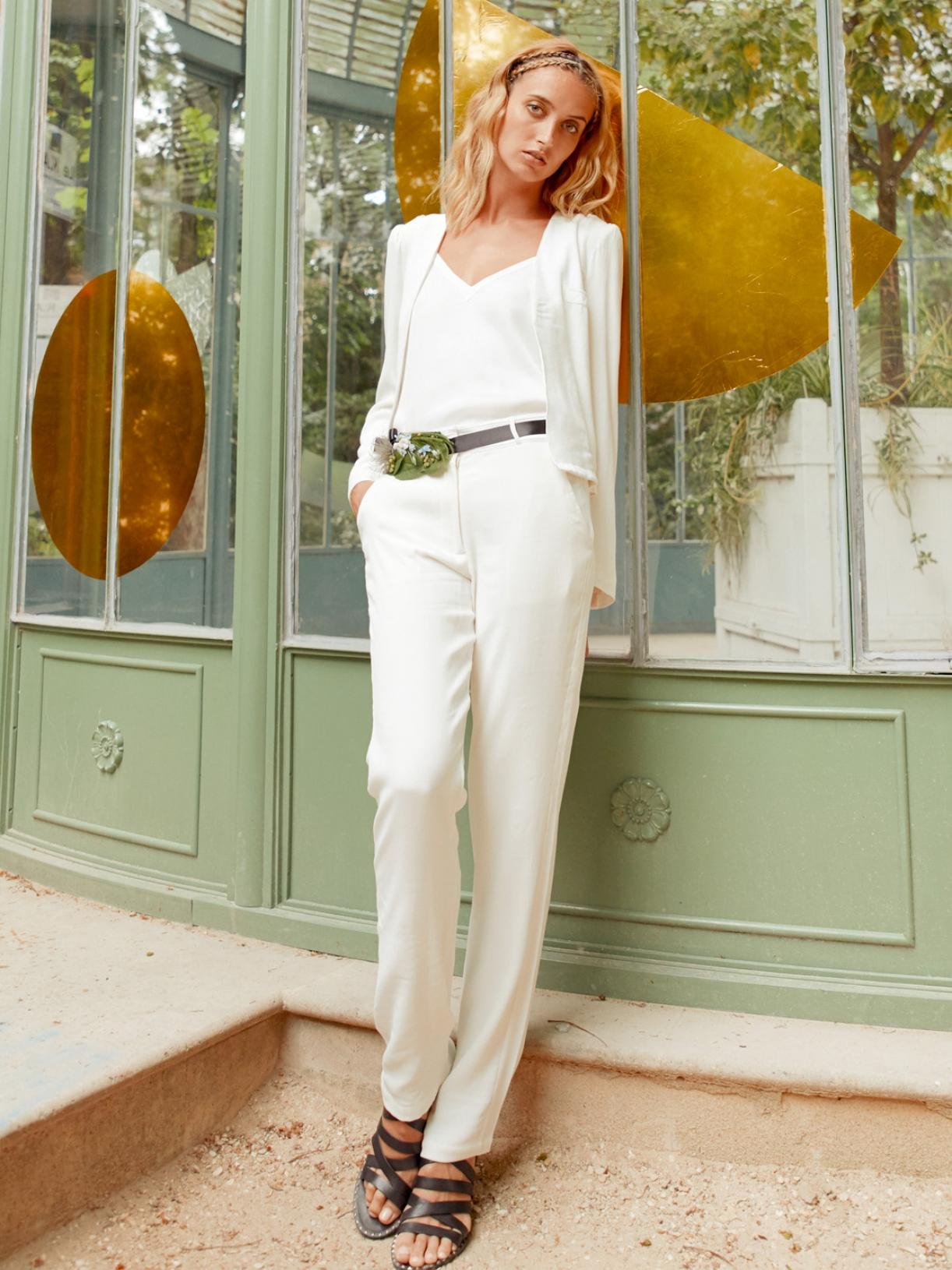 Lulomoon Tailleur De Mariée Femme Blanc Robe De Mariée