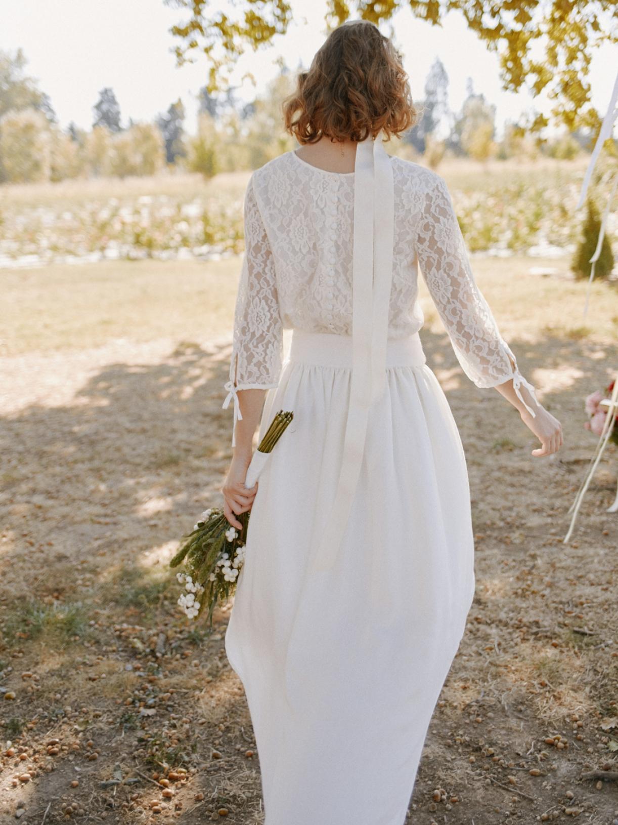 CHARLOTTE - Blouse de mariée romantique en dentelle